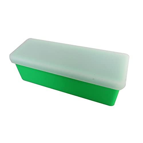 XIAOFANG Kuchenformen Silikonformen Große rechteckige Brot Backform Eiswürfel Fach Seifenherstellung Werkzeuge Dekorieren Kuchen Backwaren Form (Color : Green)