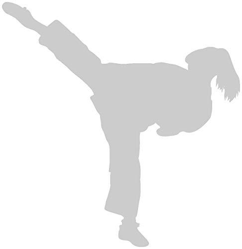 Samunshi® Aufkleber Karate Karatekämpferin in 10 Größen und 22 Farben (8x8cm Silber)