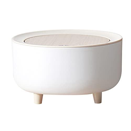 Joocyee Nordic Mini Bote de Basura con Tapa de Prensa de Elasticidad Cubo de Basura de Pie Alto, Cubo de Almacenamiento de Frutas de Escritorio, Blanco