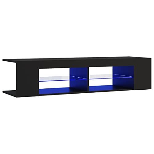 vidaXL Mueble para TV con Luces LED Soporte Armario Aparador Estante Salón Sala de Estar Decoración Entretenimiento Negro Claro 135x39x30 cm