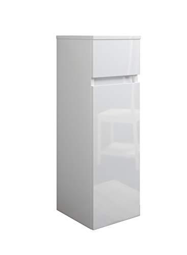 MaMa Store Atena Semicolumna suspendida con 1 cajón y 1 Puerta con Apertura a la Derecha, Laminado, Blanco Brillante Lacado L. 31 x P. 34 x H. 79 cm