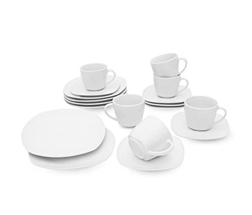 Retsch Arzberg / Geschirr Kaffeeservice FINO/Set 18teilig für 6 Personen/Porzellan eckig Uni weiß/Basic-Geschirr