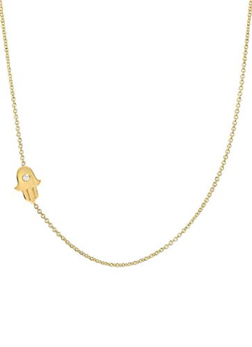 Diamond Asymmetrical Hamsa Necklace 14k Solid Gold, Zoe Lev Jewelry