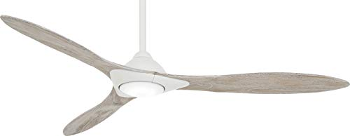 Minka Aire F868L-WHF Sleek - 60 Inch Smart Ceiling Fan with Light Kit, Flat White Finish with Bleached Seasoned Wood Blade Finish