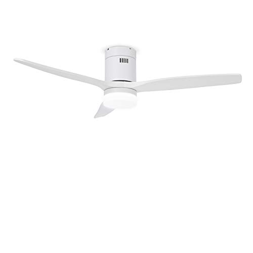 IKOHS Create WINDCALM DC STYLANCE White - Ventilador de Techo con Luz, Silencioso, 3 Aspas, Mando a Distancia, 132 cm de Diámetro, 6 Velocidades,Temporizador, Aspas de Madera, Motor DC, 40W (Blanco)