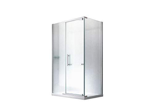Duschkabine Dusche Duschabtrennung Hephaistos Milchglas (Satiniert) 120x90x195cm - 8mm - ohne Duschtasse