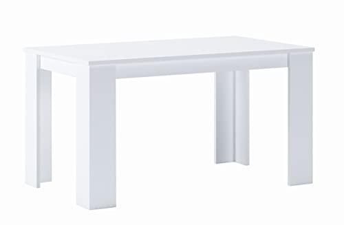 Skraut Home - Tavolo da Pranzo e Soggiorno, Rettangolare, Bianco Opaco, Fino a 6 Persone, 138x80x75 cm