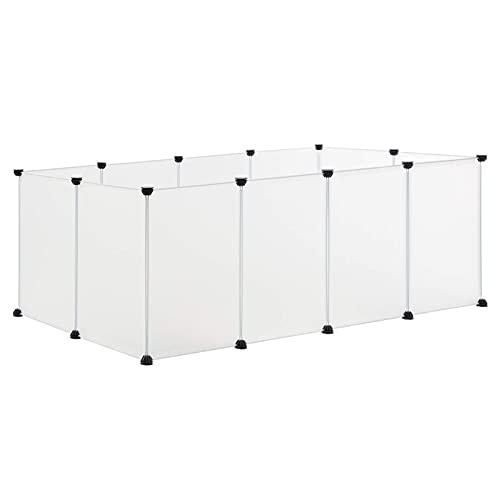EUGAD Freigehege für Kaninchen Hasen Meerschweinchen Welpenauslauf DIY Weiß 12 Platten (35x45cm/Platte) 145 x 75 x 46 cm 0001WL