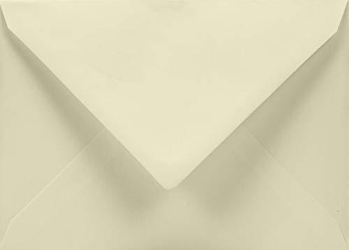 50 Elfenbein Brief-Umschläge DIN C5 ohne Fenster Spitzklappe Nassklebung 162x229mm 120g Aster Smooth Ivory große Briefumschläge Ecru für Einladungs-Karten Geburtstags-Karten Glückwunsch-Karten