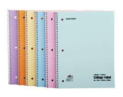 Mintra Office Spiral Notebooks, Wirebound, Pastel, College Ruled, 70 Sheets, 6PK