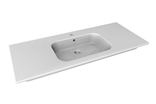 Fackelmann Fregadero de cerámica 121 cm Tamia/Lavabo de cerámica/Dimensiones (Ancho x Alto x Profundidad): Aprox. 121 x 20 x 51 cm de Profundidad, Cuencos baño y WC, Color: Blanco.
