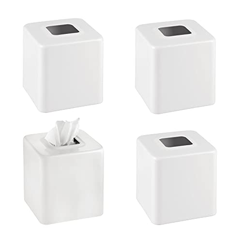 mDesign Modern Square Metal Paper Facial Tissue Box Cover Holder for Bathroom Vanity Countertops, Bedroom Dressers, Night Stands, Desks and Tables - Pack of 4, Matte White