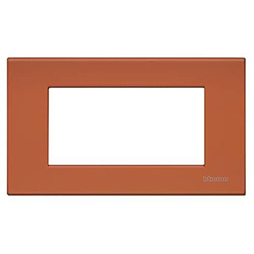 Bticino Legrand N4804RE - Placa rectangular de 4 módulos Livinglight rojo goma