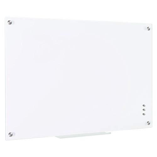 QUEENLINK Pizarra magnética de cristal de 60 cm x 90 cm, borrado en seco, sin marco, con bandeja para bolígrafos, color blanco