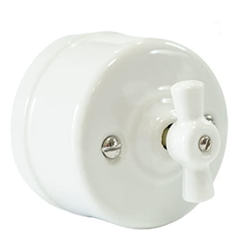 Interruptor Vintage Porcelana Instalación Superficie 250V 10A,interruptor conmutador