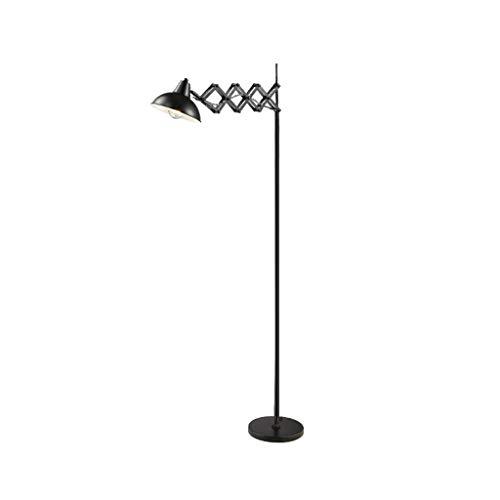 Der lange Arm teleskop Stehlampe Studie Büro Eisen art Fußschalters Stehlampe Klappstuhl Stehlampe Schaukel R/03/31 (Color : Black)
