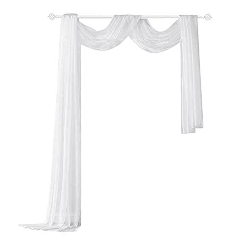 NSXIN Querbehang Freihanddeko aus Transparentem Voile, Einfarbige Fertiggardine Deko Gardine Vorhang für Schlafzimmer Wohnzimmer Hochzeit, 1.5x5m