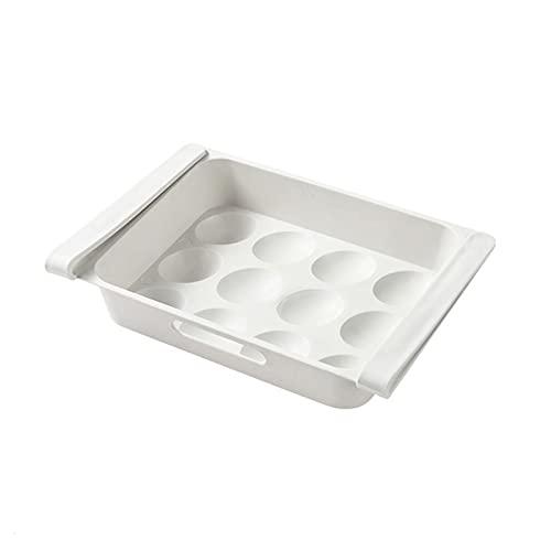 Taloit Soporte para huevos para nevera, bandeja para huevos, contenedor de huevos multifuncional, bandeja de huevos para nevera, cajón para nevera, organizador de alimentos para debajo de la placa