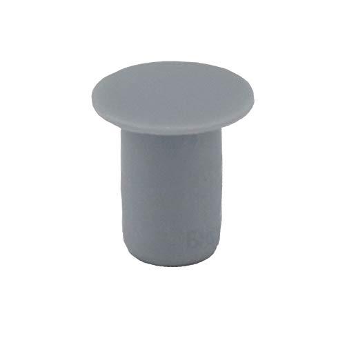 10 Stück Abdeckkappen 6 mm IROX grau Kunststoff Tiefe Bohrung 10 mm Kopf 9 mm Loch für Möbel 6 mm