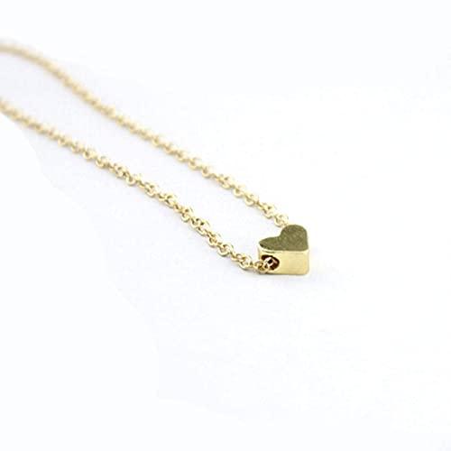 Gymqian Nuevo Collar de Corazón Simple Lady Elegant Joker Boutique Love Cuello Adornos Corazón Cadena de Clavícula,Color Dorado