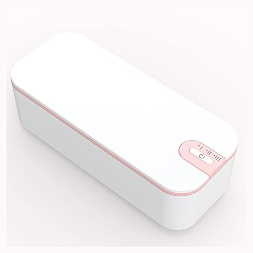BOXS Small Household Portable ultrasonic Sterilization Glasses Cleaning Machine, Contact Lens Cleaner, Jewelry Makeup Tool Cleaning Tool (Color : White (Pink Edge))