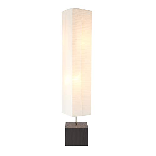 CO-Z Contemporary Floor Lamp with Wood Base, Mid-Century Modern Floor Lamp Square with Rice Paper Shade, 58'' Traditional Column Lamp Standing Lamp for Living Room, Bedroom, Corner
