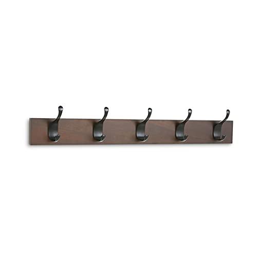 Amazon Basics - Perchero de madera de pared, 5 ganchos modernos 57 cm, Nogal, 2 unidades