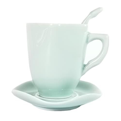 YKW Taza de café 6.7oz Taza de té y platillo Set de Porcelana Embarque de Porcelana Microondas y lavavajillas Cerámica Cerámica Celadons Taza (Color : B)