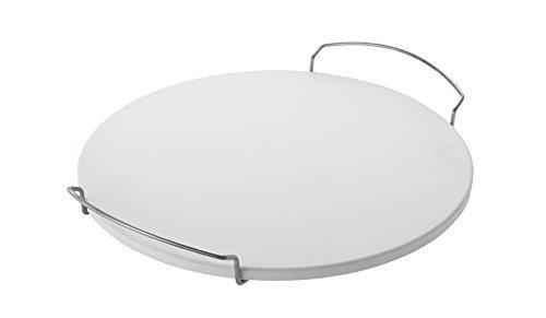 Rösle BBQ Pizzastein rund, Schamott, Griff aus verchromtem Stahl, 46,5 x 41 x 6,5 cm, Ø 42 cm, backofengeeignet