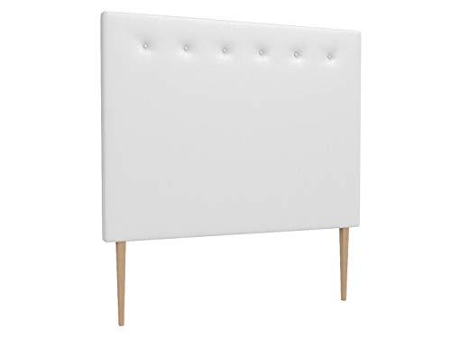 LA WEB DEL COLCHON - Cabecero tapizado Macedonia Big para Cama de 150 (160 x 165 cms) Blanco   Cama Juvenil   Cama Matrimonio   Cabezal Cama  