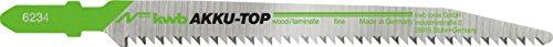 kwb AKKU TOP Stichsäge-Blätter im Zweier-Set für Holz, Down Cut - Sägeblatt aus HCS Kohlenstoff-Stahl, Länge 116/90 mm - Made in Germany