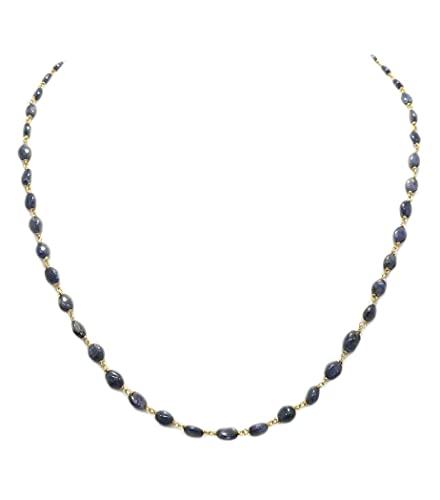 PH Beautiful Collar 1 Strang Natural oval azul zafiro 18 K oro collar de alambre