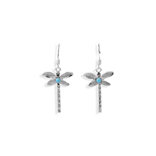 Pendientes de plata de ley 925 Navajo con diseño de libélula turquesa hecho a mano con alambre francés nativo americano hecho de Oxi Jewelry Regalos para mujeres