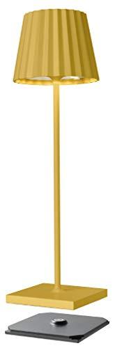 sompex Troll 2.0 LED Gartentischleuchte | Akkubetrieben | Aluminium | Dimmbar | Spritzwasserschutz | Inkl. Ladestation, Farbe:gelb
