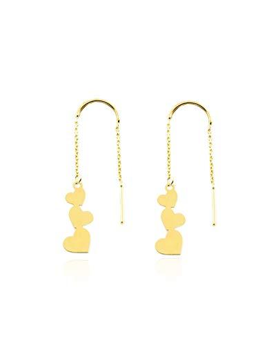 Dames & kinderen ketting hart oorbellen - geel goud 9 karaat (375)