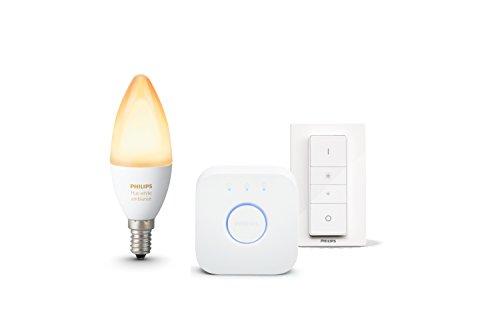 Philips Hue Lichtwecker, natürlich aufwachen mit Licht, Hue White Ambiance E14 Kerze inkl. Hue Bridge und Dimmschalter, steuerbar via App, kompatibel mit Amazon Alexa