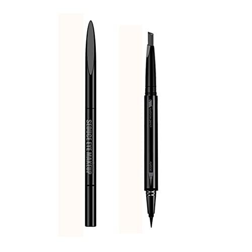 Pinkiou Eyeliner Pen Rotativo para cejas 2 en 1 Bolígrafo moldeador de color de cejas de dos cabezas (gris claro)