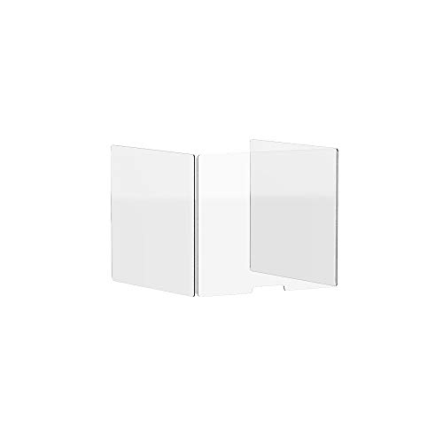 """24"""" Freestanding Clear Acrylic Shield, Plexiglass Screen, Sneeze Barrier Guard for Library & Office Business and Customer Safety, Employees,Student, The Three-Sided Design"""