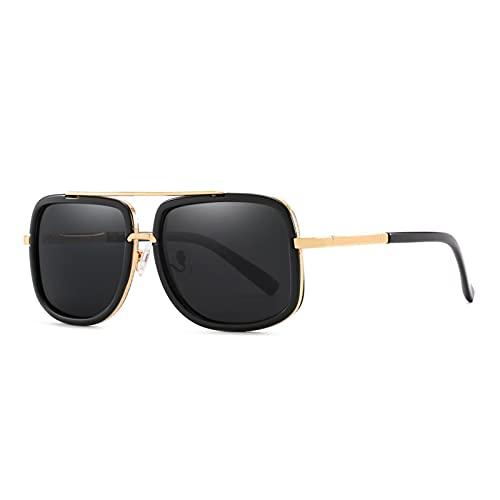 LWZ Gafas de Sol Gafas de Sol polarizadas Retro de Moda con Personalidad Nueva para Mujer, Gafas de Doble Haz de Espejo Azul,1