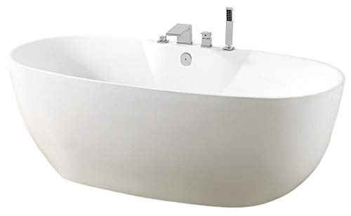 Freistehende Badewanne ROMA PLUS Acryl weiß - 170 x 80 cm, Vormontage:Mit Vormontage (5 Werktage), Wannenarmatur:Mit Wannenarmatur 6080 Chrom