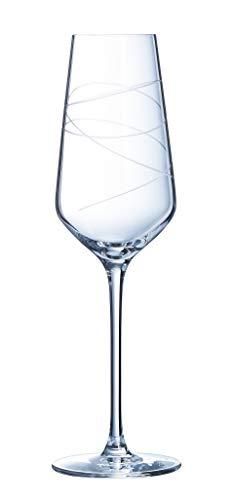 CRISTAL D'ARQUES P0856 Coffret de 4 Flûtes 21 cl ABSTRACTION - Cristal d'Arques Paris, 0.21 liters
