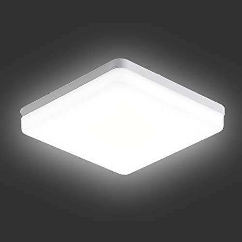 Plafón led Techo 24W,ZTWLEED Moderna LED Lámpara de Techo,Blanco Frío 6500K,3240LM,Impermeable IP54,23x23CM,Luz de Techo Led Cuadrada para Dormitorio Pasillo Balcón