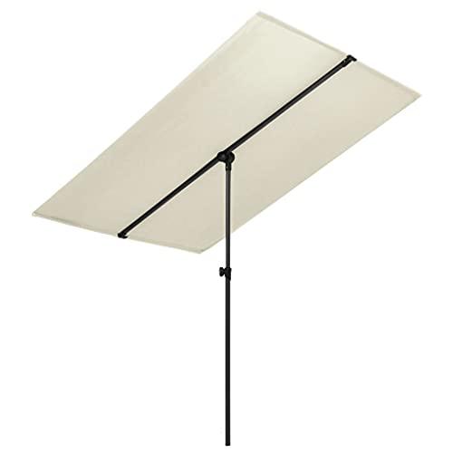 YueStar Sombrilla exterior con poste de aluminio 180x130 cm arena blanca