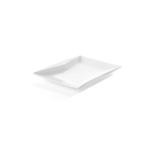 HENDI Platte Torro, Hohe Schlag- und Verschleißfestigkeit, geeignet für Mikrowelle, Geschirrspüler, 360x240x(H)30mm, Weiß Porzellan