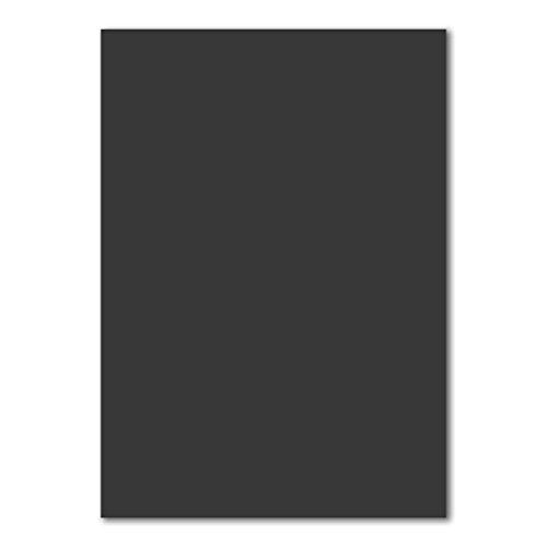 50 DIN A5 Papier-bögen Planobogen - Schwarz - 240 g/m² - 14,8 x 21 cm - Bastelbogen Ton-Papier Fotokarton Bastel-Papier Ton-Karton - FarbenFroh®