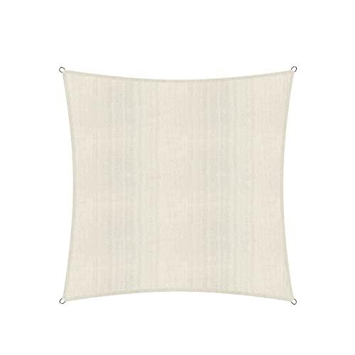 Lumaland Sonnensegel inkl. Befestigungsseile, Wetterbeständig, 100% HDPE mit Stabilisator für UV Schutz, Quadrat 3 x 3 Meter Creme