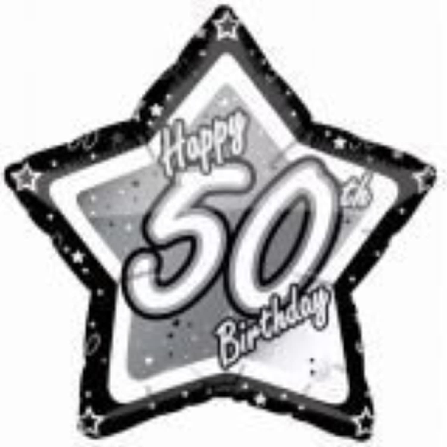 Black & Silver Age 50 Star Foil balloon by Party2u