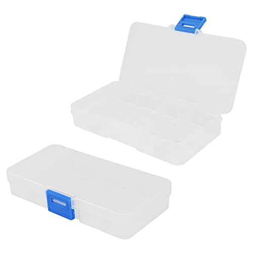 CUTULAMO Caja organizadora de 10 Rejillas, contenedor de Almacenamiento, joyero, Caja organizadora de plástico Transparente, contenedor de Almacenamiento Transparente con divisores Ajustables para