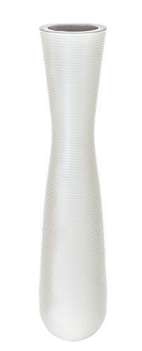 Casablanca - Vase - aus Keramik matt weiß mit Rillenstruktur H 57 cm