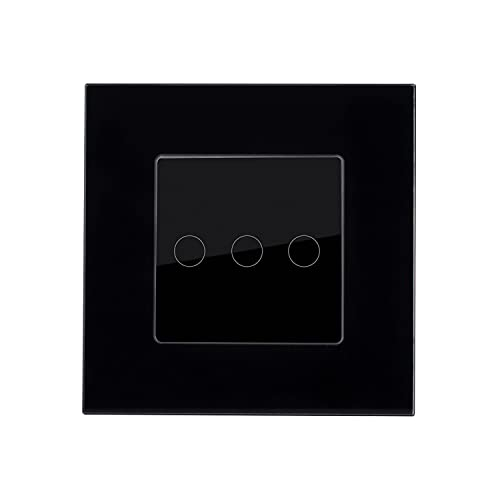 LEDKIA LIGHTING Interruptor Táctil Triple con Marco Cristal Modern Negro